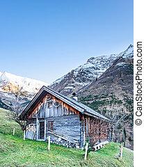 antigas, madeira, madeira, chalé, em, nevado, Tirol,...