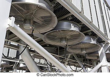 Industrial fans cooling an electrical power transformer.