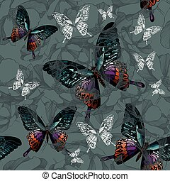 Seamless background with flowers and colorful butterflies,...
