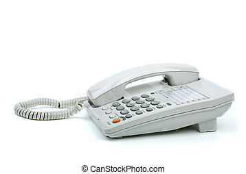White office phone with handset on-hook