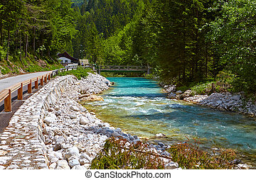 National Park Triglav,Slovenia - Mountain River Bistrica in...
