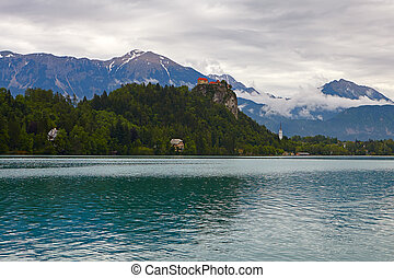 Bled lake.Slovenia - Medieval castle on top of a hill in...