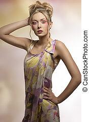 frisk, stil, kvinna, mode, färgrik