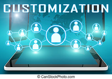 Customization - text illustration with social icons and...