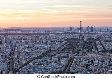 View of the Eiffel Tower on a sunset, Paris