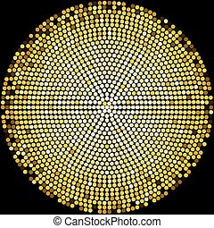 Golden disco balls halftone pattern background design