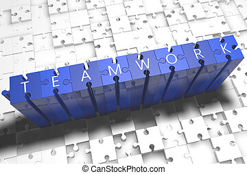 Teamwork - puzzle 3d render illustration with block letters...