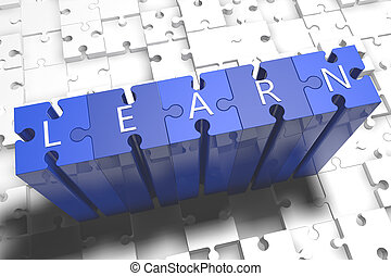 Learn - puzzle 3d render illustration with block letters on...