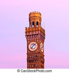 Emerson Bromo-Seltzer Tower in the early winter morning The...