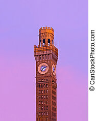 Sunrise over Emerson Bromo-Seltzer Tower in the winter. The...