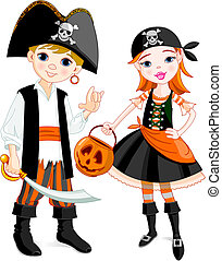 Pirate couple - Two kids dressed as pirates for Halloween