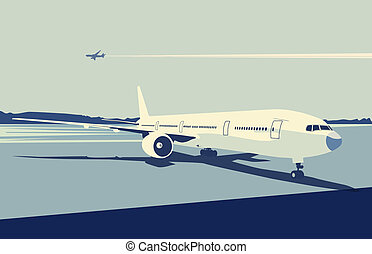 urban airport - illustration of a detailed airplane on the...