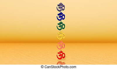 Colored aum / om in chakra column in orange background