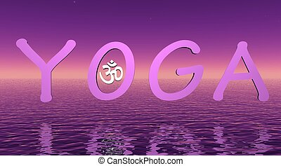 Violet yoga on the sea with little aum om in O letter
