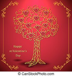 Gold valentines day tree forged with hearts