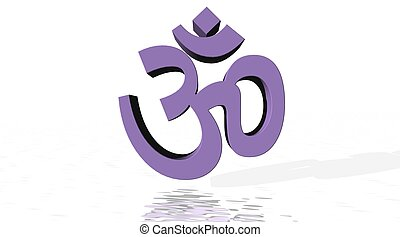 Violet aum / om with little reflect in white background