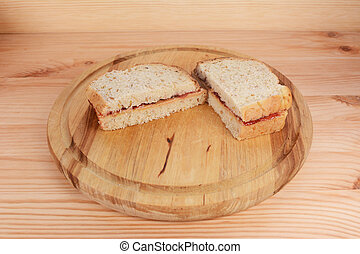 Freshly-made peanut butter and jam sandwiches - Freshly...