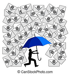Fighting the Email Flood - Humorous concept sign of the...