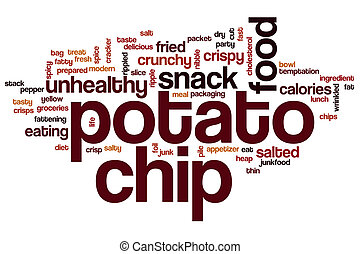 Potato chip word cloud concept with food snack related tags