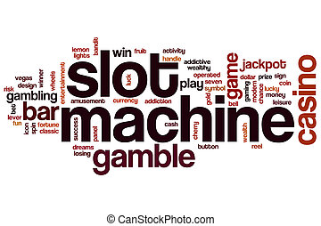 Slot machine word cloud concept with casino gamble related...