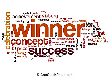 Winner word cloud concept with success celebration related...