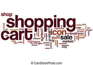 Shopping cart word cloud concept with sale shop related tags