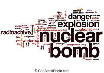 nuclear, bomba, palabra, nube,