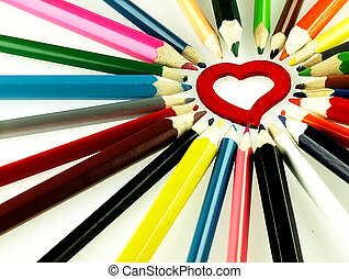 Colorful wooden crayons and red Heart - Wooden crayons and...