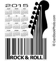 2015 Guitar music calendar - An abstract 2015 Guitar music...