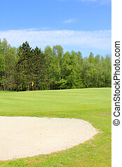 Sand bunkers on the golf course at french resort Saint Saens...