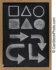 geometrical shapes and arrow - white chalk on blackboard -...