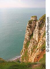 Etretat, cliffs - View on sea and cliffs in Etretat,...