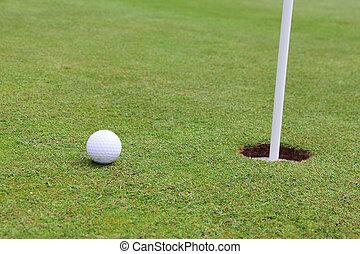 golf, Pelota, en, labio, de, taza,