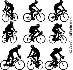 bicyclists silhouette - vector