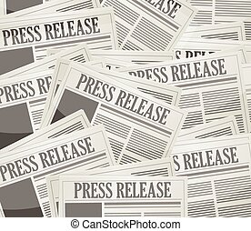 press release newspaper illustration design over a grey...
