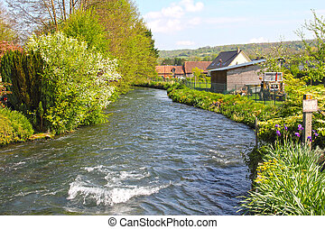 River in Normandy village - River in Torcy-le-Grand, typical...