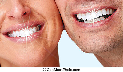 Happy woman smile - Happy woman white shining teeth Dental...