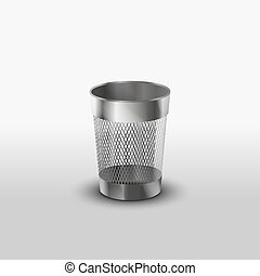 Empty steel trash can realistic icon - Empty steel trash can...