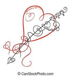 Decorative heart and arrow - Scribble swirling motif love...