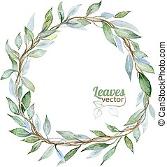 Leaves frame - Round background with green leaves,...