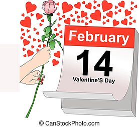 February 14, a day full of love - Illustration symbolic...