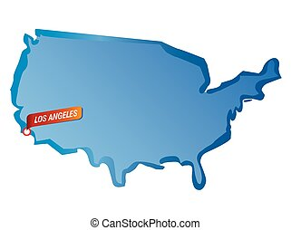 Vector map of USA and Los Angeles
