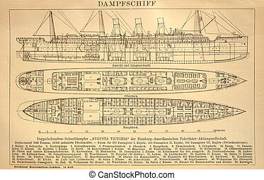 Old drawing The design of the steamer - Old drawing made in...