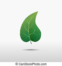 Green leaf of the tree, vector icon