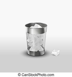 Steel trash can with paper garbage realistic icon - Steel...