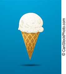 Vanilla ice cream cone realistic icon