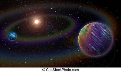 Alien Solar System - Extraterrestrial Alien Two Planet...