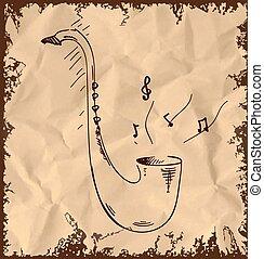 Saxophone icon isolated on vintage background