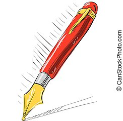 Ink pen cartoon vector illustration - Ink pen Hand drawing...