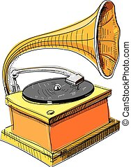 Vintage gramophone isolated on white. Hand drawing sketch...